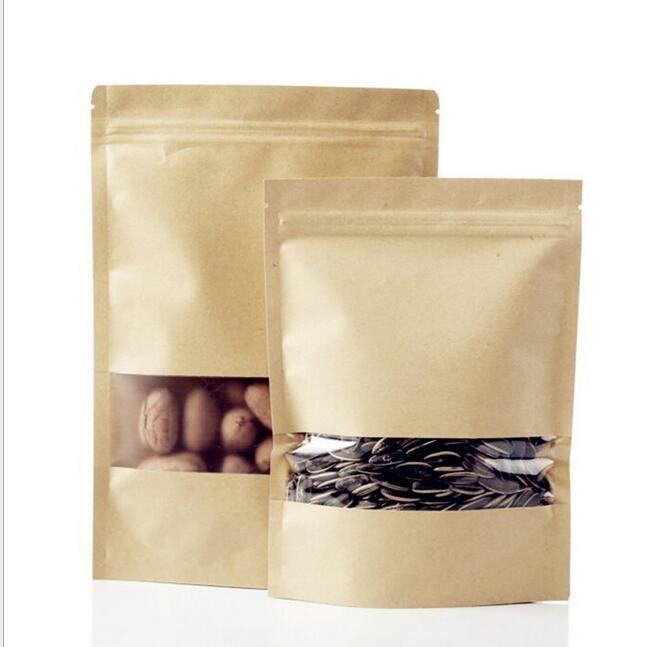 Sacchetti di cibo a prova di umidità Kraft di carta con rivestimento di alluminio Stand Up Pouch valvola Imballaggio del sacchetto della guarnizione Snack Candy Cookie Baking