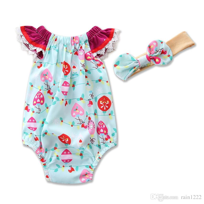 Baby Toddlers Rompers Onesies Jumpsuits For Infants Little Girls Cotton Printed Rompers Bow Headband Children Kids Princess Jumpsuits Outfit
