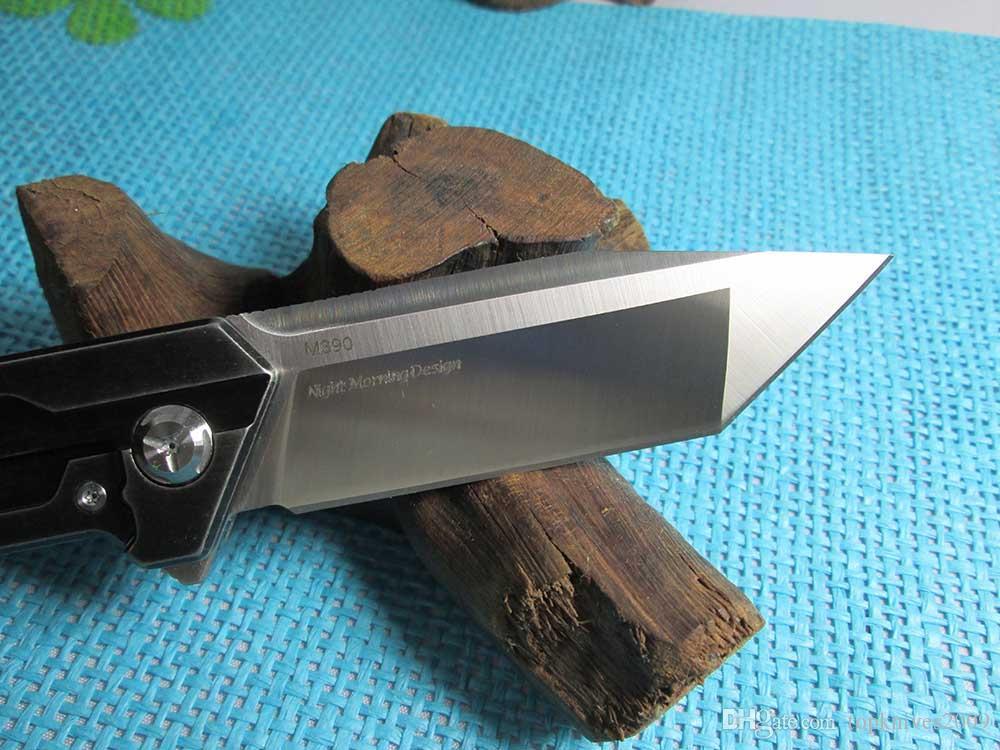 New Night Morning Design TwoSun Knives D2 / M390 Blade TC4 Titanium Fast Open Folding Pocket Knife TS38