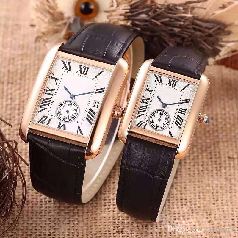 2017 Fashion Luxury Watches Women Men Watch Square Bezel Leather Strap Top Brand Quartz Wristwatches for Men Lady Best Gift C Clock