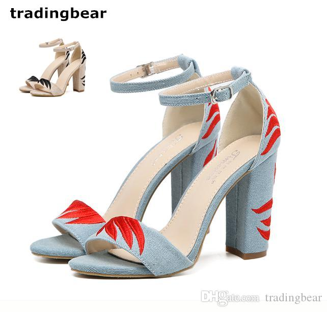 b62329a62 Fashion Thick High Heels Designer Sandals Blue Denim Cloth Embroidery Ankle  Strap Chunky Heel Shoes Size 35 To 40 Nude Wedges Bridal Shoes From  Tradingbear, ...
