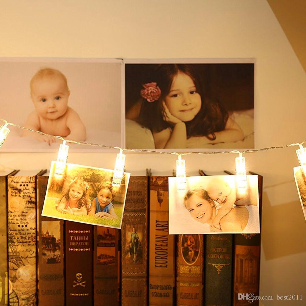 Luces de cuerda LED Novedad Lámpara de hadas Tarjeta de batería estrellada Clip de foto Luminaria Festival Decoración de boda de Navidad