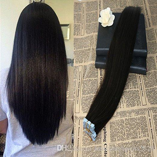 Nastro ELIBESS in estensione dei capelli umani 2.5 g / pz 40 pz / set 1B # 2 # 4 # 6 # 27 Doppio nastro trafilato nell'estensione dei capelli con estremità spesse