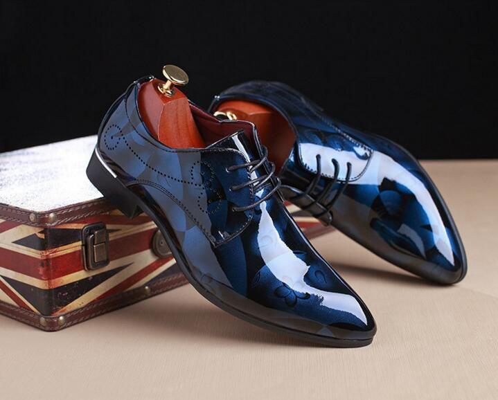 c93893c38e99f Mens Luxury Derby Shoes Men S Flat Oxfords Casual Dress Wedding Leather  Shoes Blue White Footwear Male Business Shoes Plus Size 48 Mens Sandals Mens  ...