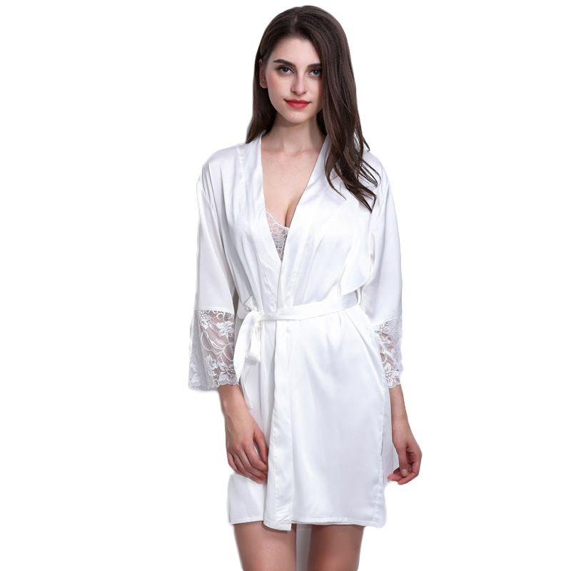 3774650e95 2019 Wholesale Silk Satin Wedding Bride Bridesmaid Bathrobe Plus Size Kimono  Night Robe Bathwear Fashion Robes For Women 2017 New Hot Sleepwear From  Baimu