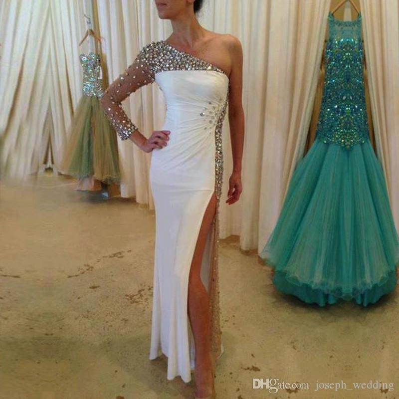 Vestido De festa una spalla sirena Prom Dresses Bianco alta fessura perline di cristallo abiti da sera in chiffon