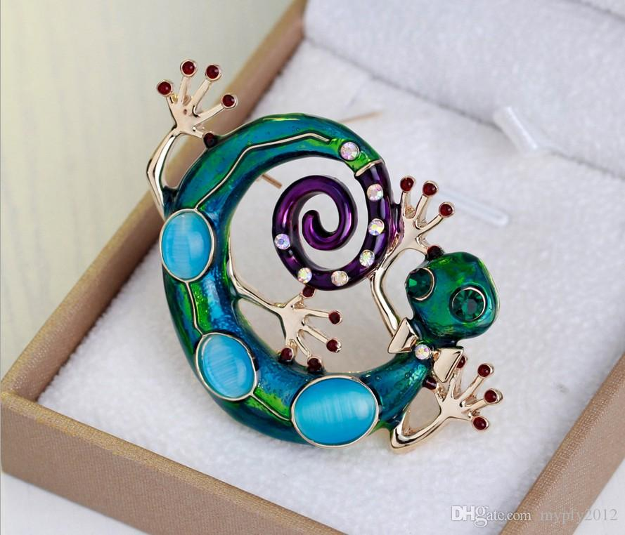 18k Gold Snake Natural Stone Animal Broches Brooch With Cat Stone Brooch Wedding Scarf Pins Up women jewelry DR
