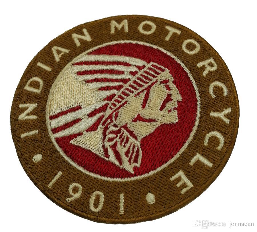 1901 HINDISTAN MOTOSIKLET Rocker İşlemeli Demir On Patch Motosiklet Biker Kulübü MC Ön Ceket Punk Yelek Yama Detaylı Nakış