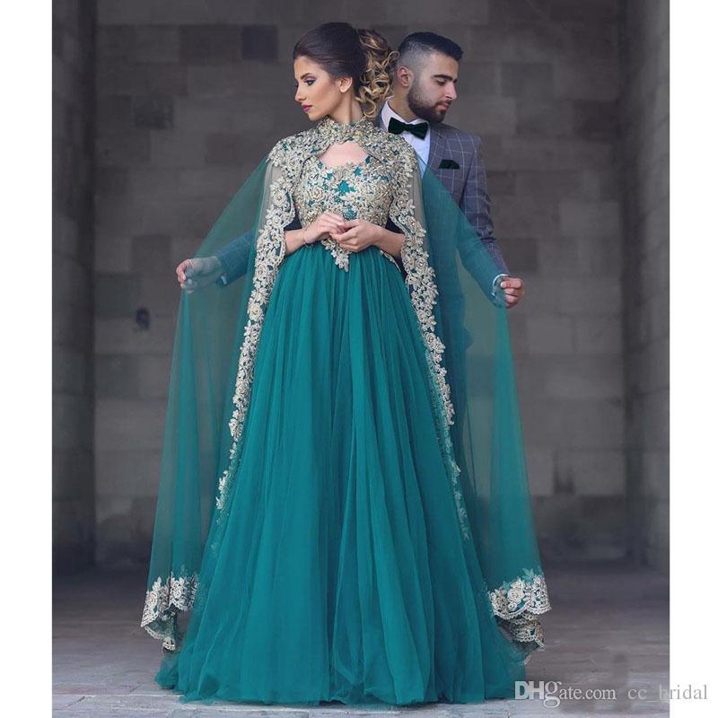 Gold Applique Lace Prom Dresses 2017 Dubai Kaftan Dress Plus Size ...