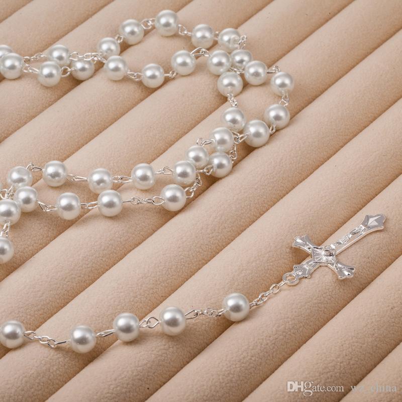 Męskie Srebrne Naszyjnik Różaniec Kobiety Pearl Koraliki Biały / Czarny Kryształ Krzyż Krzyż Naszyjniki Naszyjniki 6mm 120 sztuk / partia Moda Biżuteria