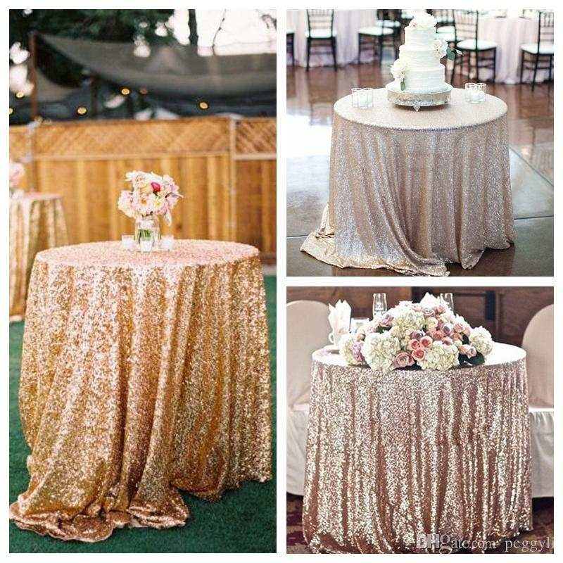 Gold Rose Sequined Table Cloth Sparkly Champagne Tablecloth Elegant Wedding Sequin  Table Dress Fabrics 2017 Cheap Wholesale Rose Gold Sequins Dress Sequins ...