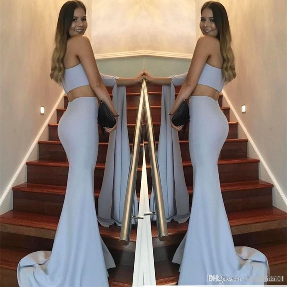 Sexy One Shoulder Mermaid Long Evening Dresses 2018 Two Pieces Satin Zipper Back Formal Special Occasion Gowns Prom Dress Robe De Soiree