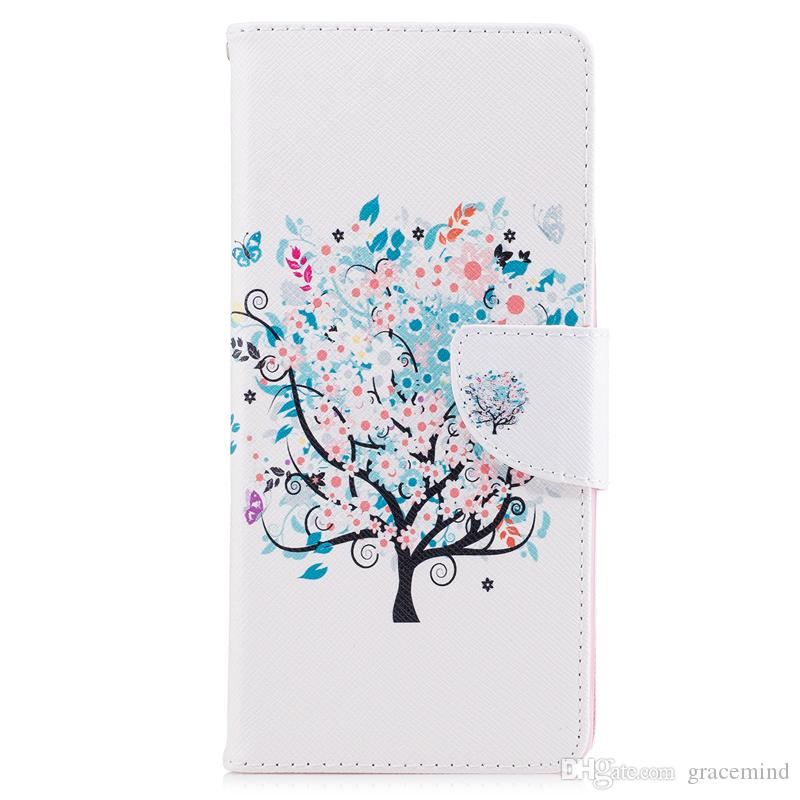 For Samsung Note 8 S8 Plus Cover Painted PU Leather Cases Flip wallet Card Stents holster Feather Colorful Tree Designer Phone Bags