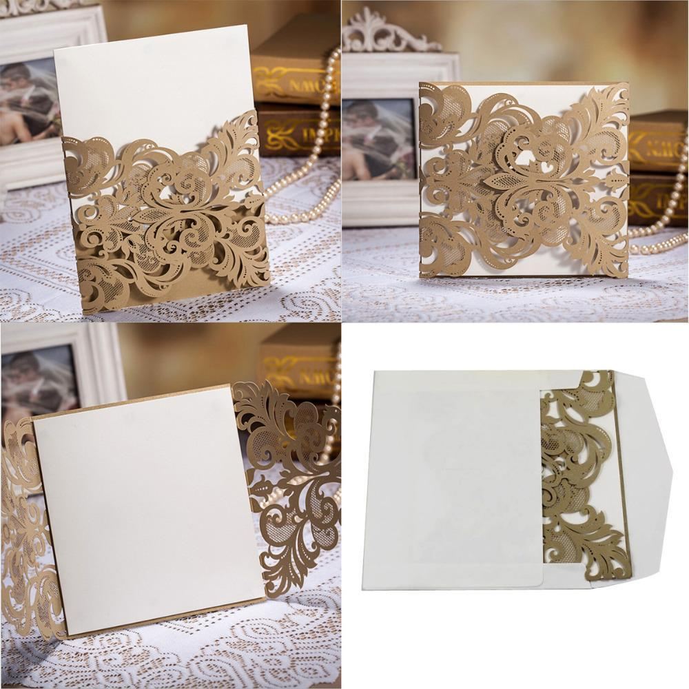 Wholesale Wedding Invitation Card Laser Cut Flower Gold Hollow Party Supplies Free By Dhl Birthday Greetings Cards Online From