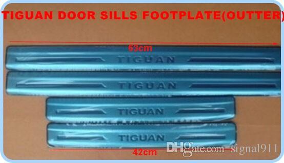 stainless steel 4external+4 internaldoor sills scuff footplate,guard plates,protection bar with logo for Volkswagen Tiguan 2009-2015