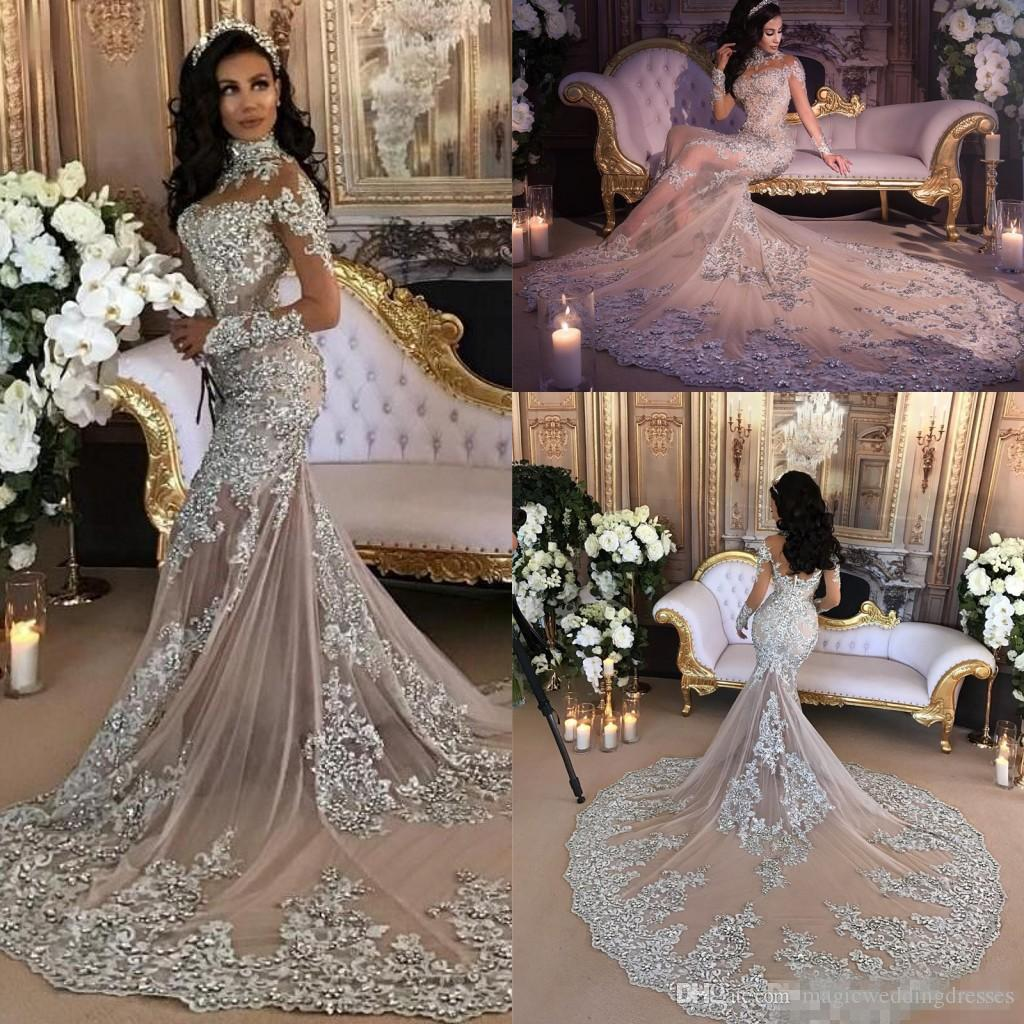 3f4f4bcc1f .Luxury Sparkly 2017 Mermaid Wedding Dress Sexy Sheer Bling Beads Lace  Applique High Neck Illusion Long Sleeve Champagne Trumpet Bridal Gown