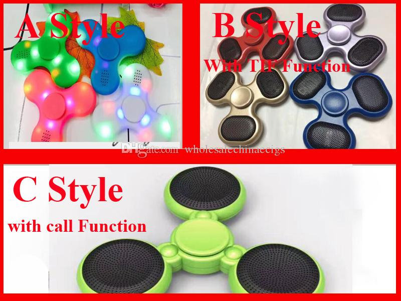 New Led Bluetooth Speaker Music Fidget Spinner with SD TF Card Calls Function Hand Spinner Tri Spinner cube FingerSpinner EDC Toy DHL Free