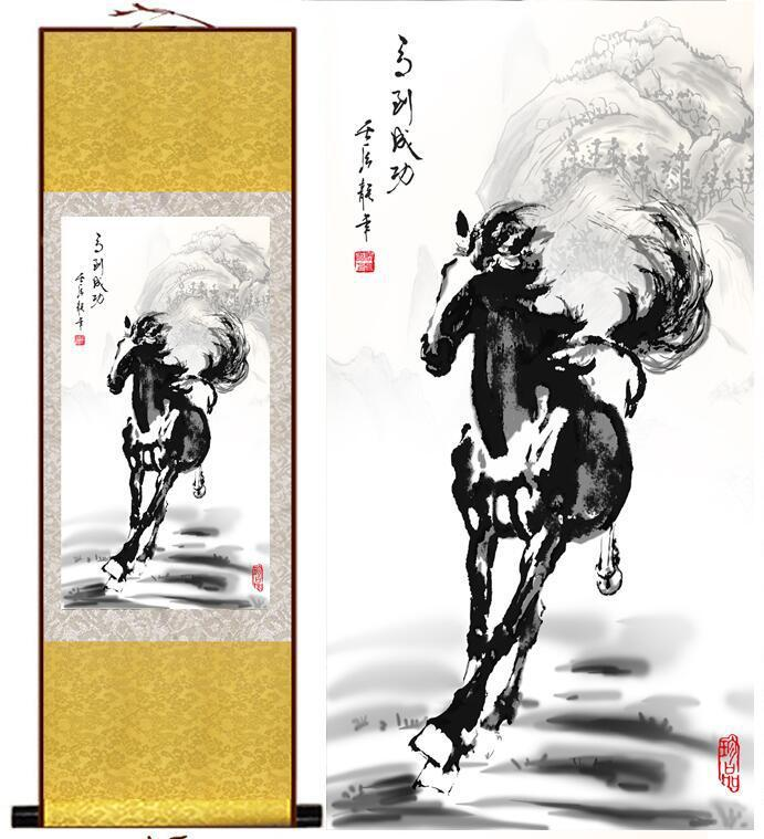 Horse painting Traditional Chinese art painting black and white Horse art Wall Art Scroll Hang Picture