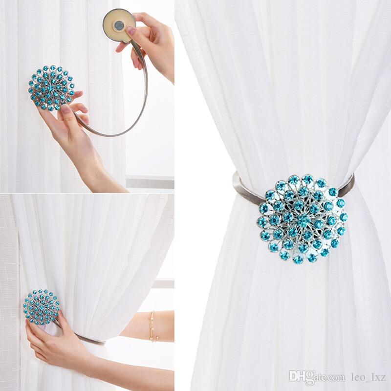 Of Curtain Clips Attraction Appliance Buckle Magnetic Tieback Creative Diamond Bind Europe Type Door Hanger Hook Handle Shower
