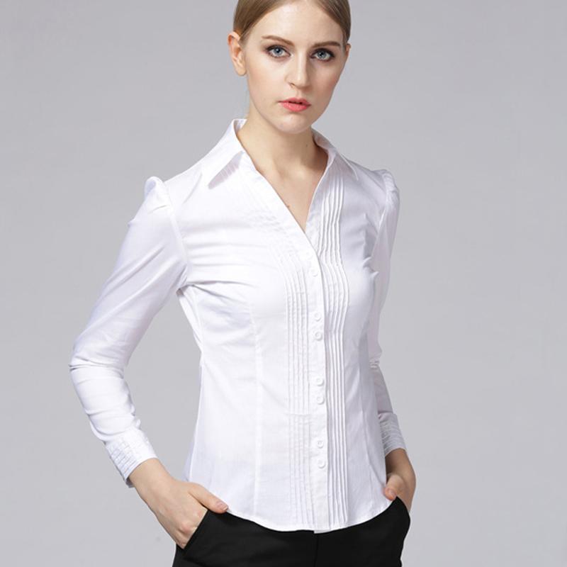 a7c89a268f Compre Niza Primavera Mujer Camisa Ropa Blusas Femininas Blusa Con Cuello  En V Blanco Negro Túnica Manga Larga De Puff Bussiness Body Body Tops A   41.78 Del ...