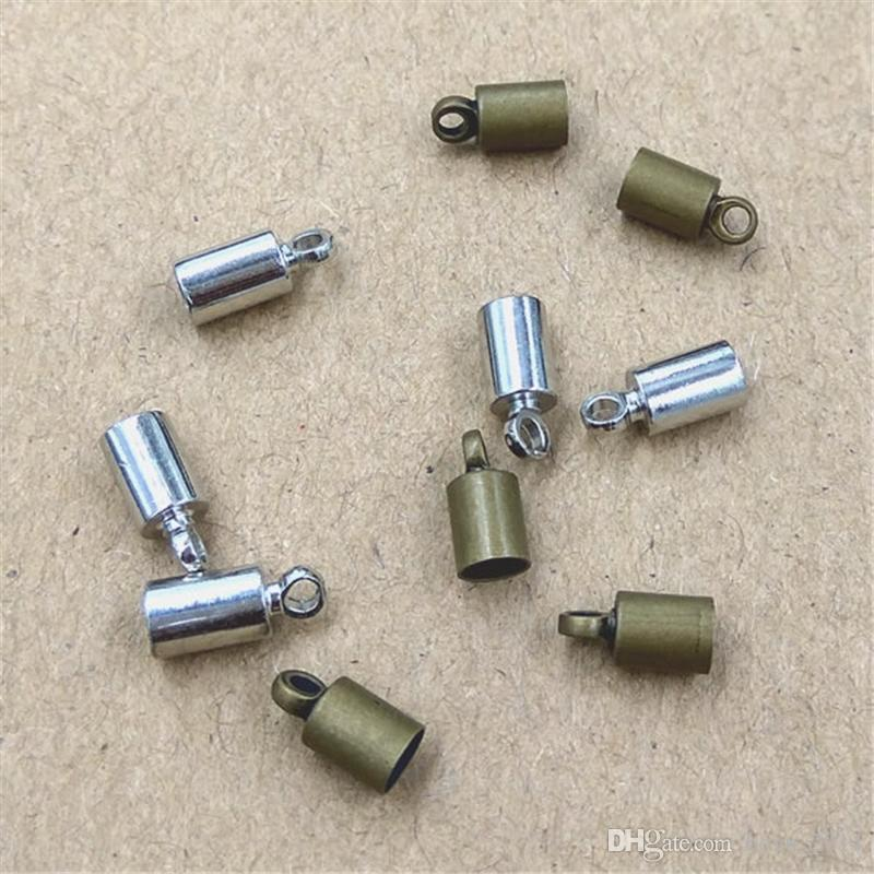 Size 3.5mm Hole Original Bronze/Rhodium Plated Rope End Caps Vintage Crimp Beads Covers leather Clasps