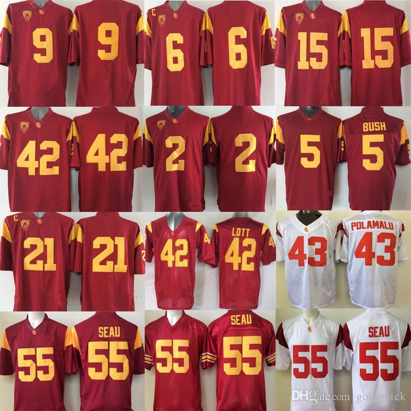 6fc014a7b04 ... football jerseys cardinal  cheap college usc trojans jersey 43 troy  polamalu 6 cody kessler 9 juju smit 42 uchenna