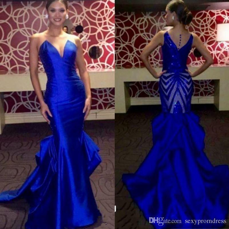 Élégant Royal Bleu Robes De Soirée Sheer Cou Sans Manches En Satin Sirène De Bal Robes Retour Paillettes 2017 Miss USA Pageant Robe De Soirée