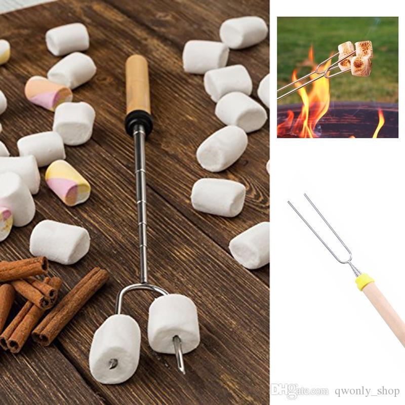 8 teile / los BBQ Gabeln Camping Lagerfeuer Edelstahl Campingplatz Mittagessen Werkzeuge Holzgriff Teleskop Grill Braten Gabel Sticks Spieße