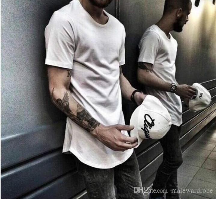 Mens grandi e alti designer di abbigliamento tendenze citi Abbigliamento T shirt homme curvo orlo Tee bianca maglietta estesa pianura