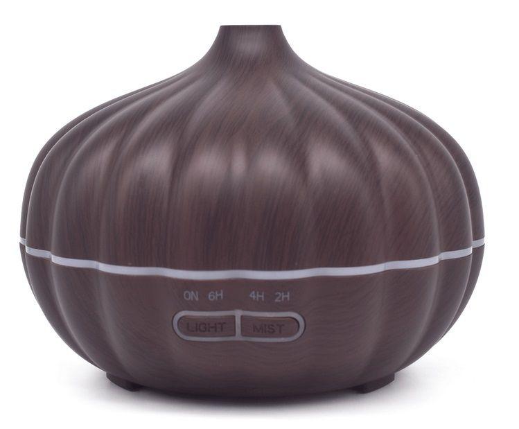 Dark Wood 500ml Pumpkin Style Ultrasonic Essential Oil Aromatherapy Scent Diffuser Cool Mist Wood Grain Aroma Humidifier Diffuser