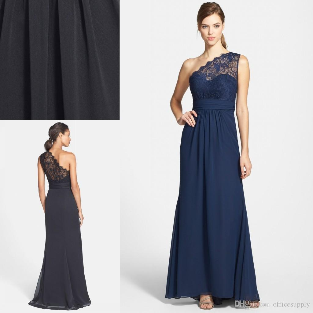 Country style navy blue chiffon lace bridesmaid dresses 2018 one country style navy blue chiffon lace bridesmaid dresses 2018 one shoulder a line long spring summer beach maid of honor prom gowns patterns for bridesmaid ombrellifo Image collections