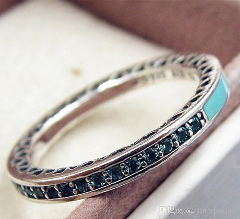 522a408ae 2019 2017 New 100% 925 Sterling Silver European Pandora Jewelry Clear Radiant  Hearts Ring With Bright Mint Enamel And Cz Fashion Charm Ring From ...