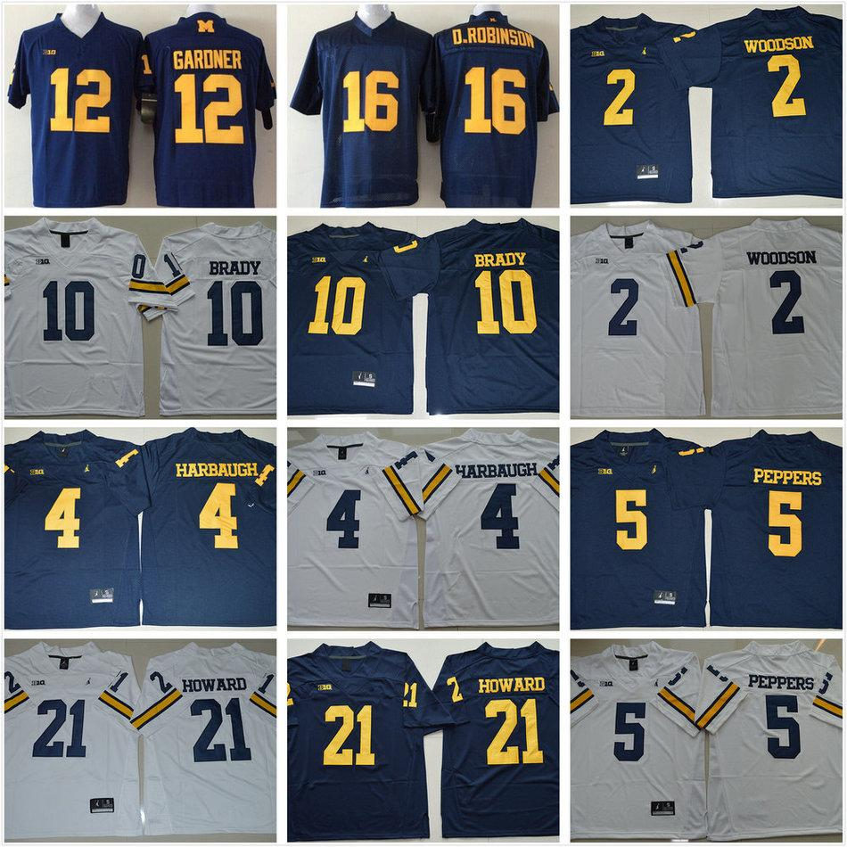 2019 NCAA Michigan Wolverines Football College 10 Tom Brady Jerseys 2  Charles Woodson 4 Jim Harbaugh 5 Jabrill Peppers 21 Desmond Howard Jersey  From ... 543b620e0