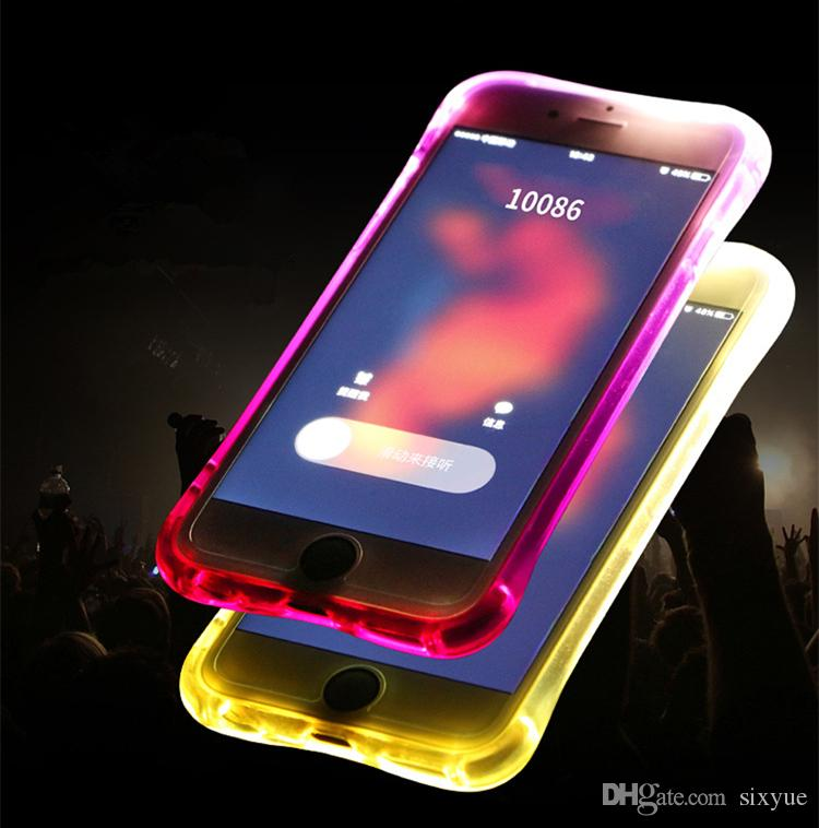 soft TPU LED Flash Light Up phon Case Remind Incoming Call Cover for iPhone 5S SE 6 6S Plus Samsung S7 S6 Edge Note 5 Clear Transparent Skin