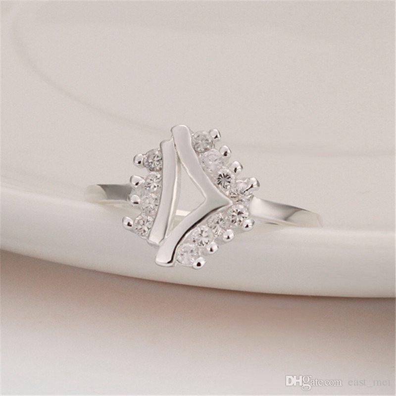 hot Inlay Dreieck Sterlingsilber Fingerring fit Frauen, Hochzeit Edelstein 925 silberne Platte Ringe Solitärringe ER300 plattiert
