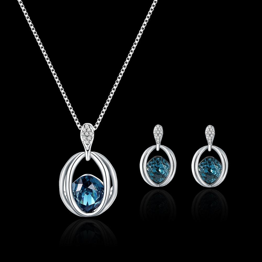 Bridal Necklace Earrings jewelry sets top sales water drop women fashion jewelry blue color min order
