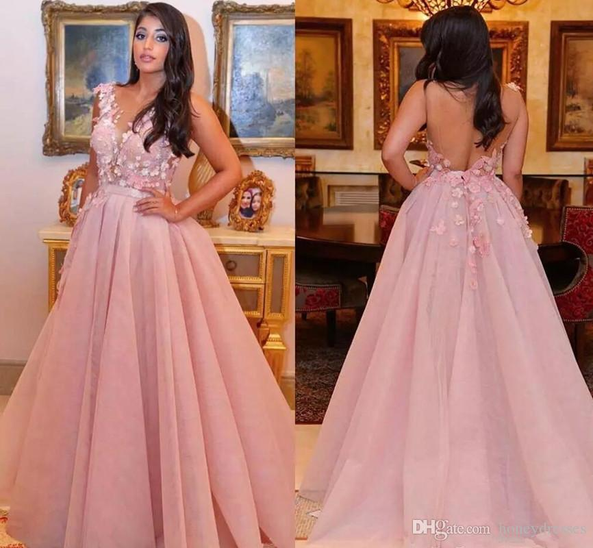 Stunning 2018 3D-Floral Appliques Backless Prom Dress With Scoop Neck Open Back Pink Cheap Lace Evening Gown Formal Dresses Evening Wear