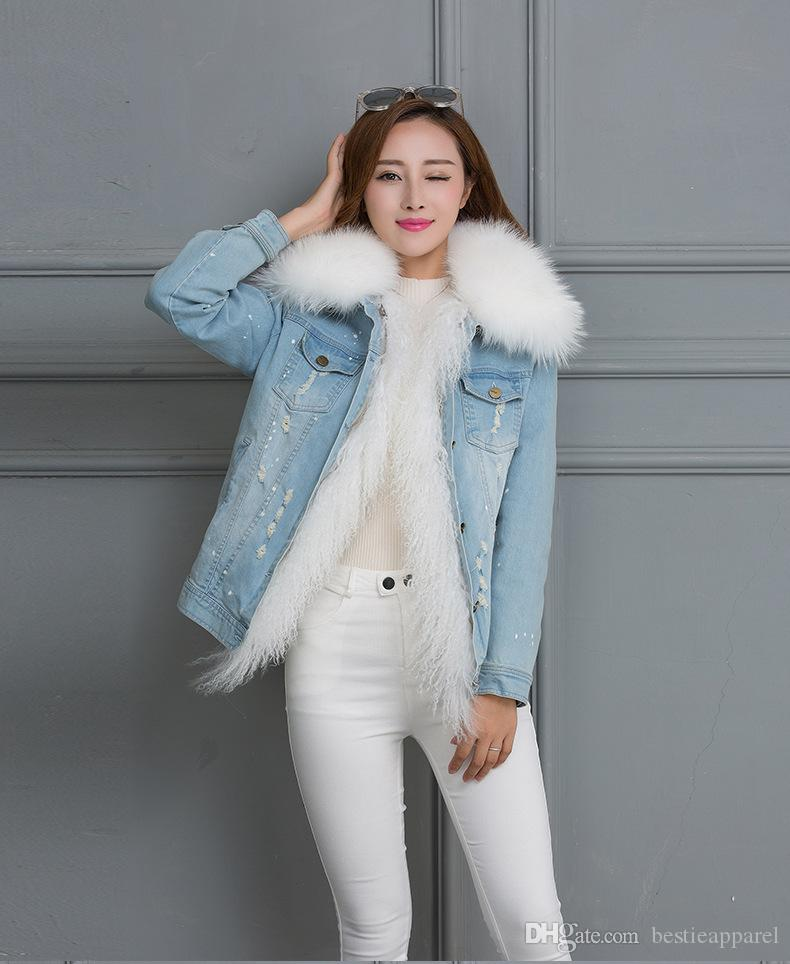 2018 Women Fox Fur Collar Raccoon Rabbit Fur Coats Short Denim ...