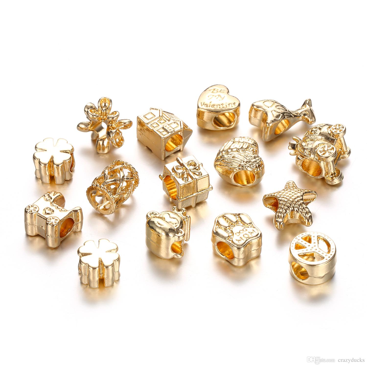 Gold Color Fit Charms Bracelets Bangles Paw House Star Beads European DIY For Jewelry Making MX10 Paw Beads Gold House Beads European Beads line with