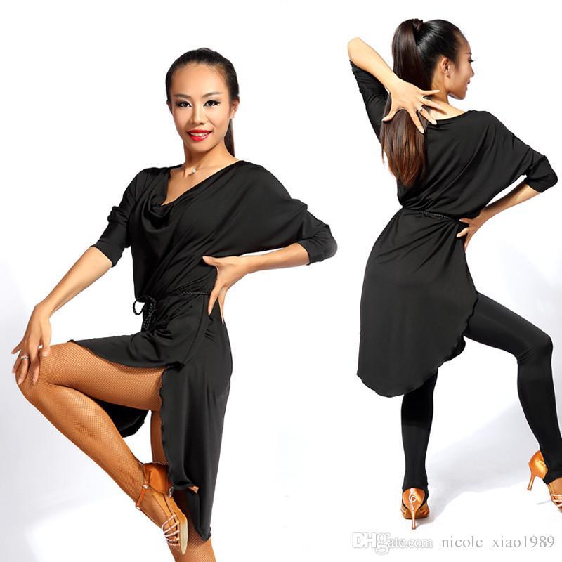 060d2448f781 Black Red Adult Girls Latin Dance Dress Salsa Tango Cha Cha Ballroom ...
