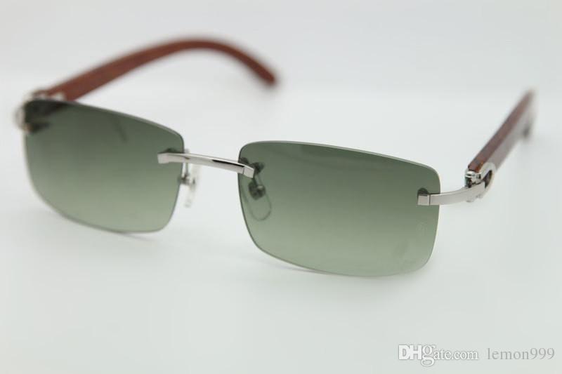 Famoso diseñador de la marca de gafas de sol de madera natural para hombre Moda piernas de madera gafas de sol 3524012 gafas de sol sin marco de 56 mm con estuche original