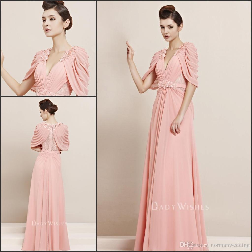 Peach Evening Dresses With Cape Wrap Beaded Lace Chiffon Long ...