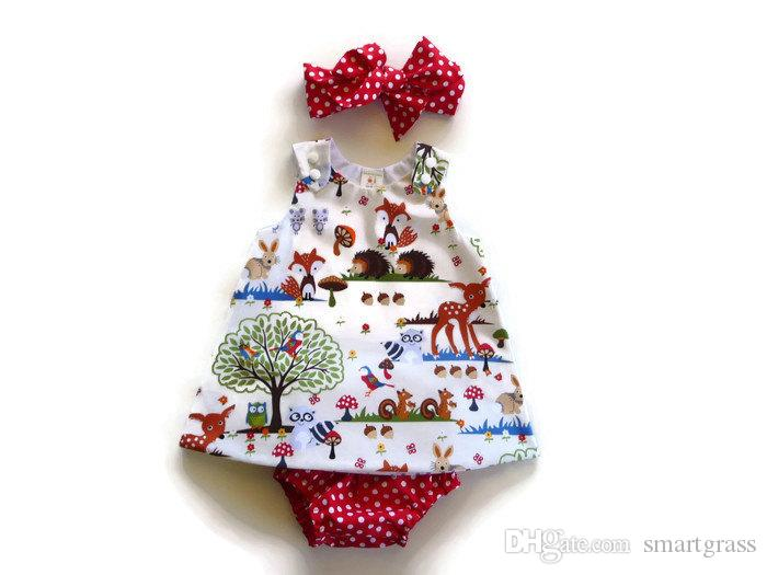 Estate 2020 Dress Set bambino senza maniche neonate Outfits Imposta PP Pantaloni corti con archetto 3 parti del bambino di corrispondenza del copre gli insiemi 17040101