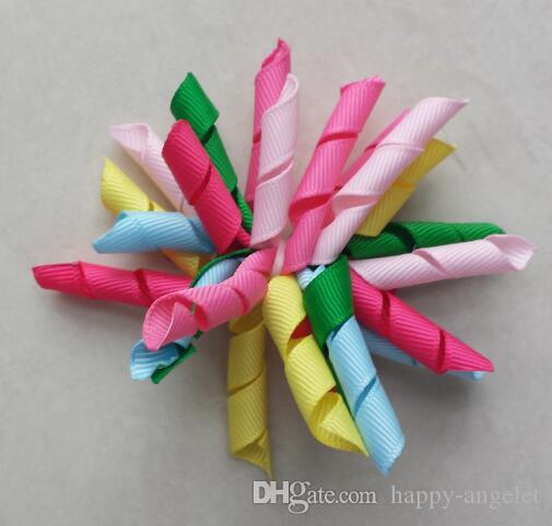 ragazze bambino 3inch arcobaleno bigodini Corker fiori archi legami clip di capelli capelli del korker dei capelli del nastro Bobbles PD007 corda elastica