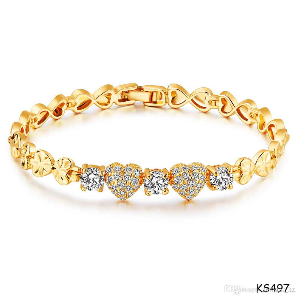 Bride 18K Gold Plated Copper Bracelet Double Infinity Zircon Heart Cuff Bangle Wedding Party Charm Jewelry Watchband Chain Bracelets