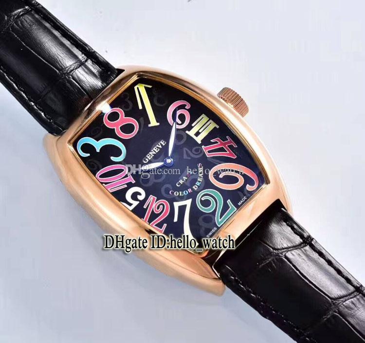 Haute Qualité CRAZY HOURS 8880 CH Cadran Noir Automatique Hommes Montre Rose Bracelet en Cuir Or Haute Qualité Nouveau Sport Montres Pas Cher