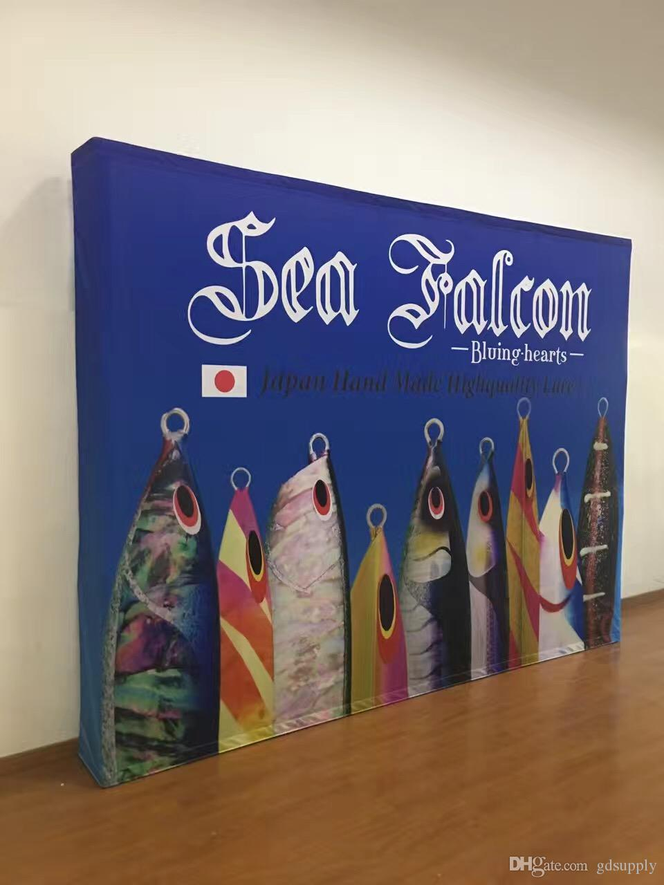 10ft Fabric Pop up Display Banner Stand Tension Fabric Frame Exhibition Wall Stand for Trade Show with Graphic with end caps