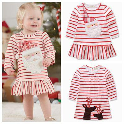 2018 fall 2017 autumn children christmas clothing kids dresses long sleeve dresses reindeer dress striped baby girl clothes santa girls dresses from - Christmas Clothes For Kids