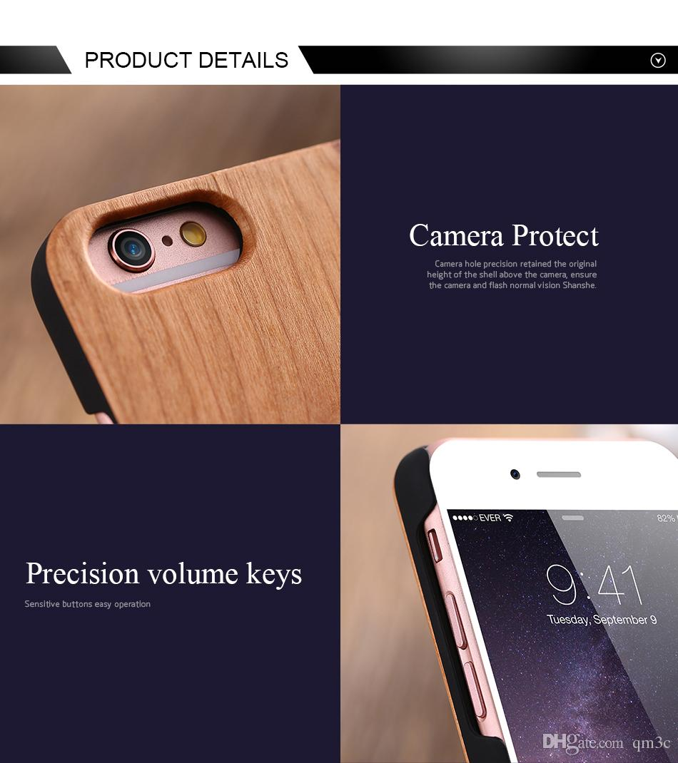 Natural Classical Blank Wood Bamboo Case Hard Back Cell phone Shell Luxury Customized Wooden Cover For Iphone Apple 6 6s plus 7 plus