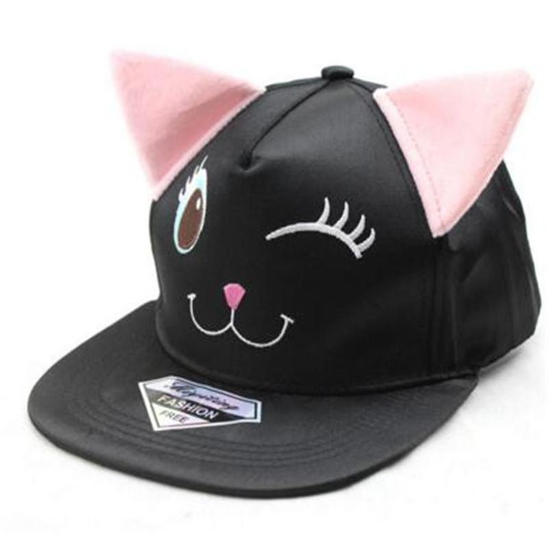 Korean Fashion Dance Baseball Cap Flat Hiphop Cap Cute Fitted Hat Black Cat  Ears Cotton Hat Embroidered Snapback Baseball Cap Custom Baseball Hats Army  Hats ... a03e9366e1
